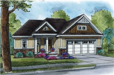 Front elevation of Craftsman home (ThePlanCollection: House Plan #120-2507)