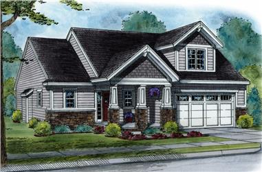 Front elevation of Craftsman home (ThePlanCollection: House Plan #120-2508)
