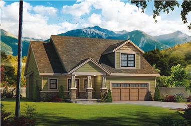 Color rendering of Craftsman home plan (ThePlanCollection: House Plan #120-2508)