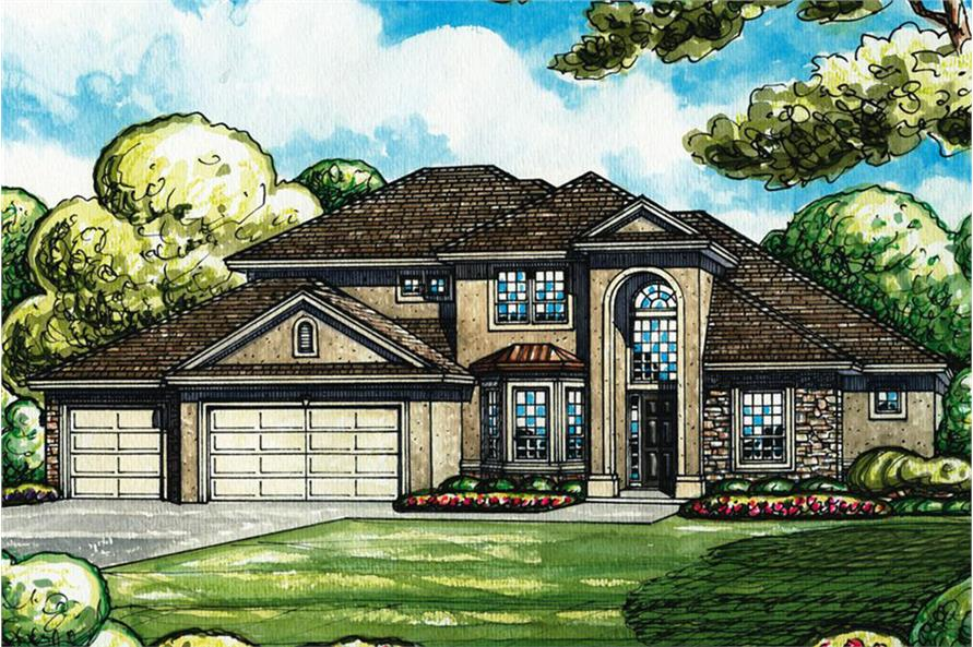 Mediterranean home plan 4 bedrms 4 baths 3185 sq ft for 3000 sq ft mediterranean house plans