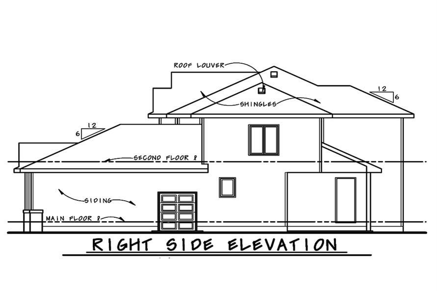 Home Plan Right Elevation of this 4-Bedroom,2902 Sq Ft Plan -120-2521