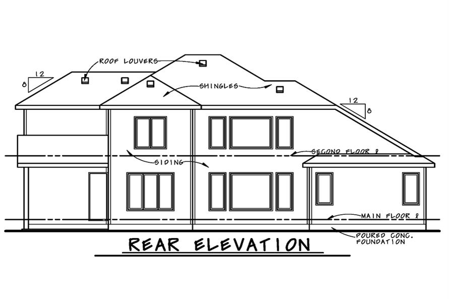 Home Plan Rear Elevation of this 4-Bedroom,2902 Sq Ft Plan -120-2521