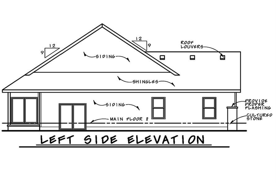 Home Plan Left Elevation of this 1-Bedroom,1732 Sq Ft Plan -120-2526