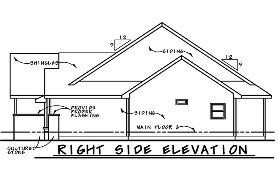 Home Plan Right Elevation of this 1-Bedroom,1732 Sq Ft Plan -120-2526