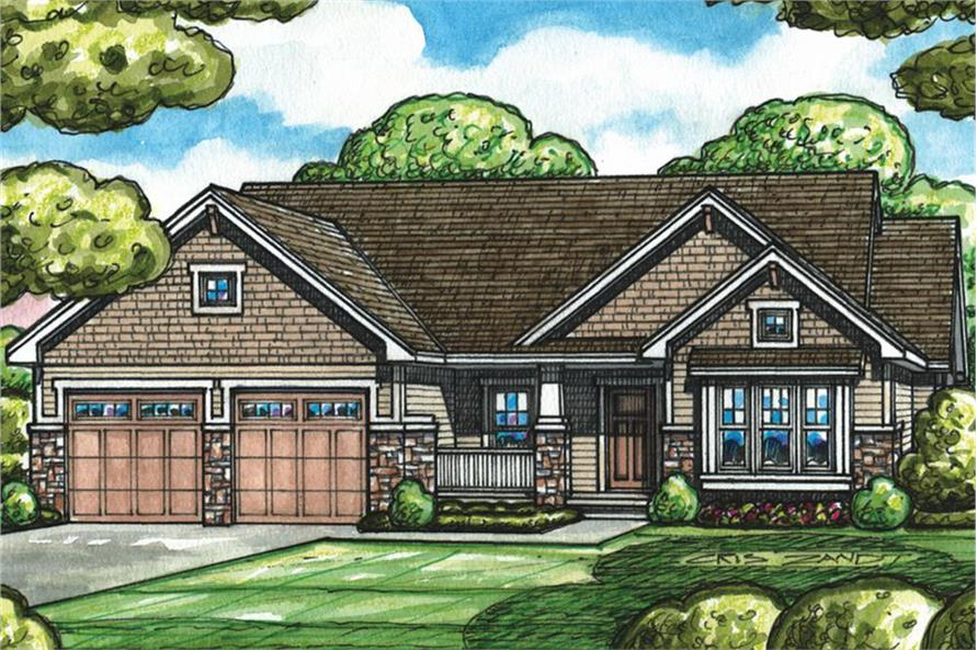 1-Bedroom, 1732 Sq Ft Craftsman House Plan - 120-2526 - Front Exterior