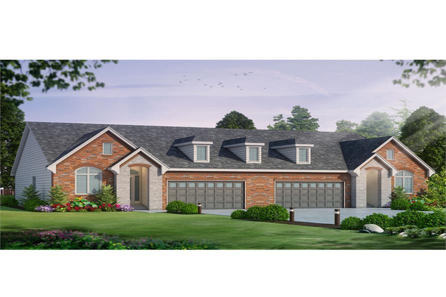 4-Bedroom, 3492 Sq Ft Multi-Unit Home Plan - 120-2527 - Main Exterior