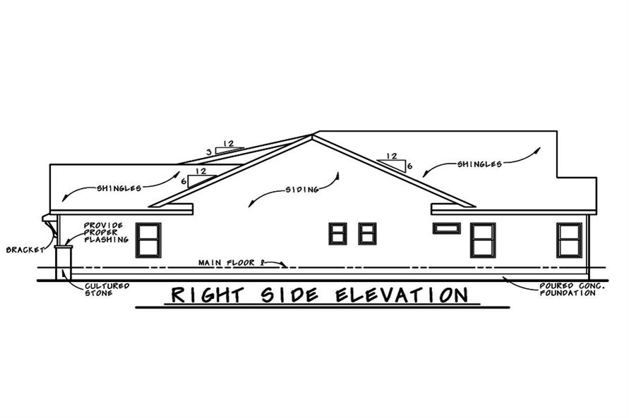 Home Plan Right Elevation of this 3-Bedroom,2407 Sq Ft Plan -120-2530