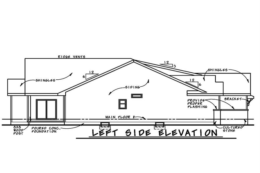 Home Plan Left Elevation of this 3-Bedroom,2407 Sq Ft Plan -120-2530