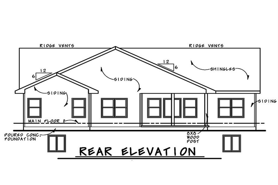 Home Plan Rear Elevation of this 3-Bedroom,2407 Sq Ft Plan -120-2530