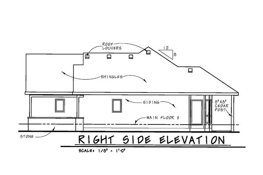 Home Plan Right Elevation of this 2-Bedroom,1436 Sq Ft Plan -120-2532