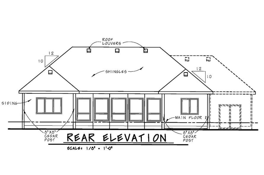 Home Plan Rear Elevation of this 2-Bedroom,1436 Sq Ft Plan -120-2532