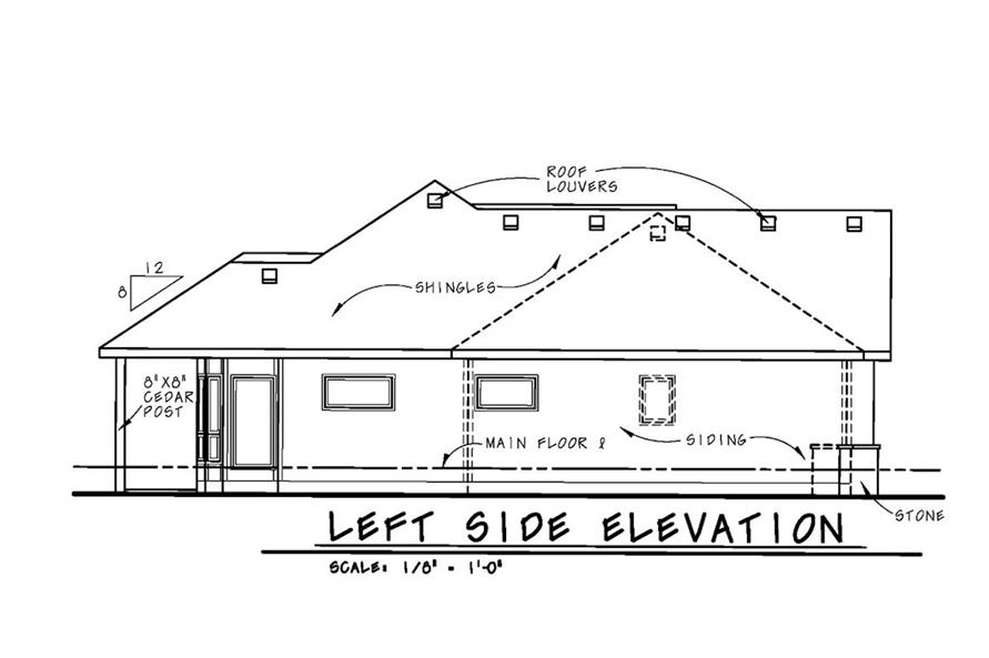 Home Plan Left Elevation of this 2-Bedroom,1436 Sq Ft Plan -120-2532