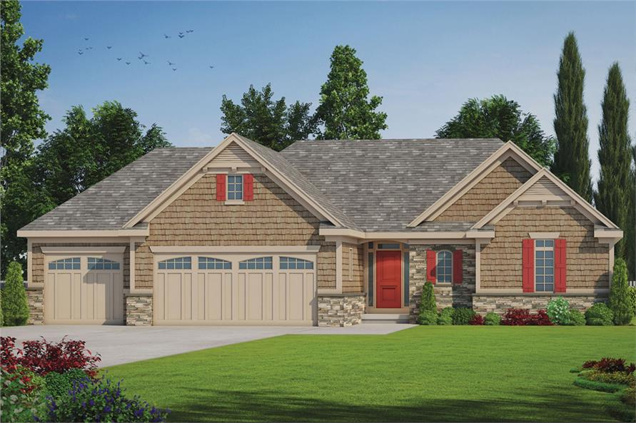 120 2532 color rendering of ranch home plan theplancollection house plan 120 2532
