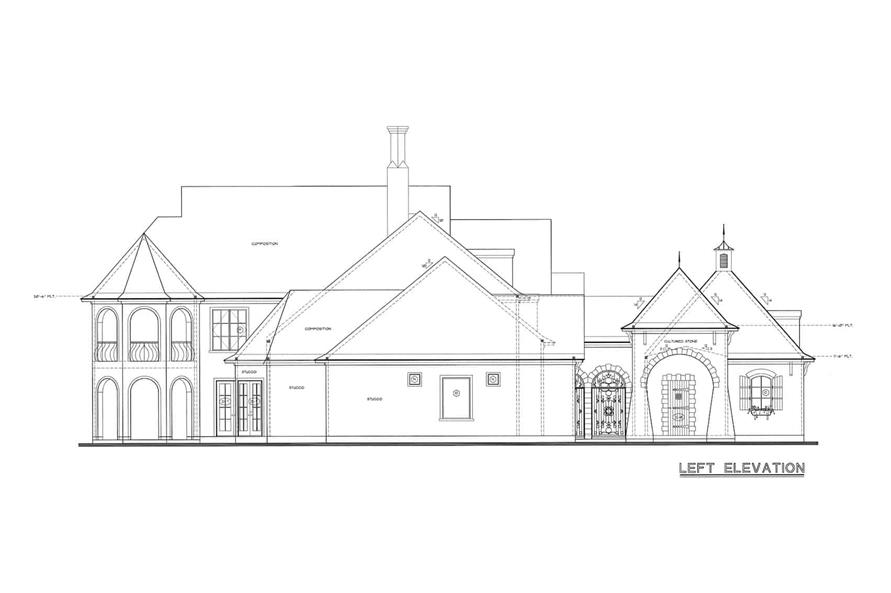 Home Plan Left Elevation of this 4-Bedroom,4629 Sq Ft Plan -120-2539