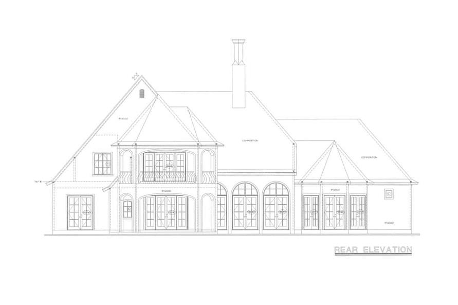 Home Plan Rear Elevation of this 4-Bedroom,4629 Sq Ft Plan -120-2539
