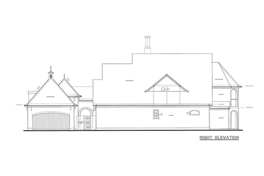 Home Plan Right Elevation of this 4-Bedroom,4629 Sq Ft Plan -120-2539