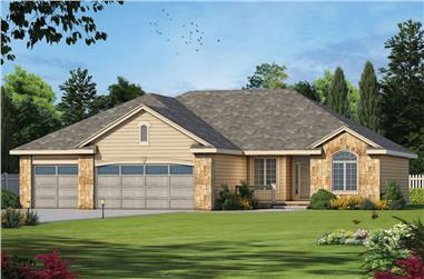Color rendering of Ranch home plan (ThePlanCollection: House Plan #120-2540)
