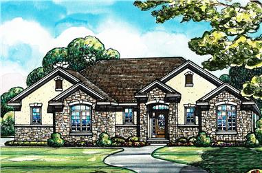 Color rendering of Traditional home plan (ThePlanCollection: House Plan #120-2542)