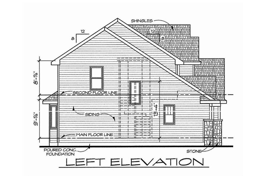 Home Plan Left Elevation of this 4-Bedroom,2377 Sq Ft Plan -120-2543
