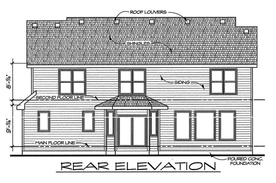Home Plan Rear Elevation of this 4-Bedroom,2377 Sq Ft Plan -120-2543