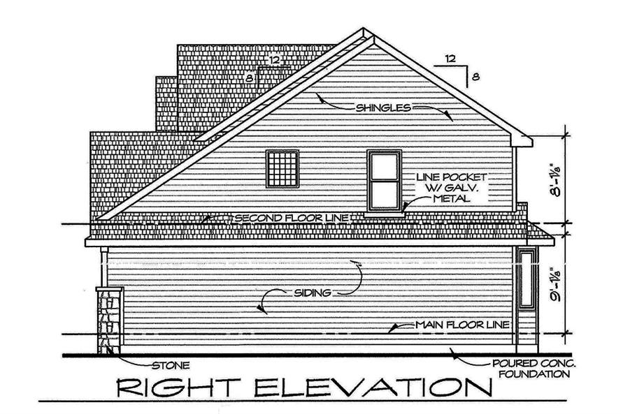 Home Plan Right Elevation of this 4-Bedroom,2377 Sq Ft Plan -120-2543