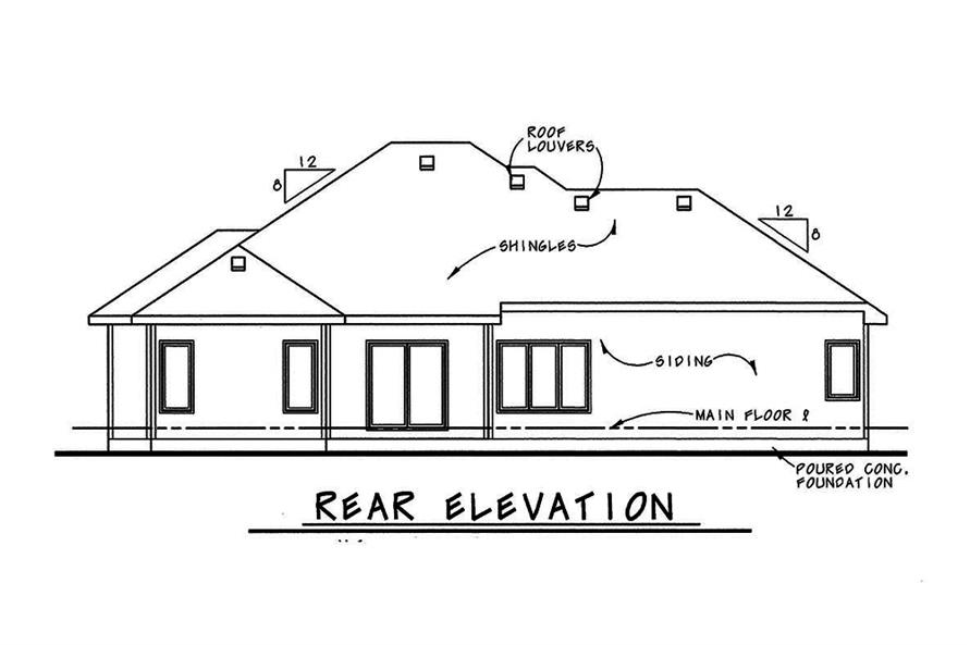 Home Plan Rear Elevation of this 3-Bedroom,1945 Sq Ft Plan -120-2544