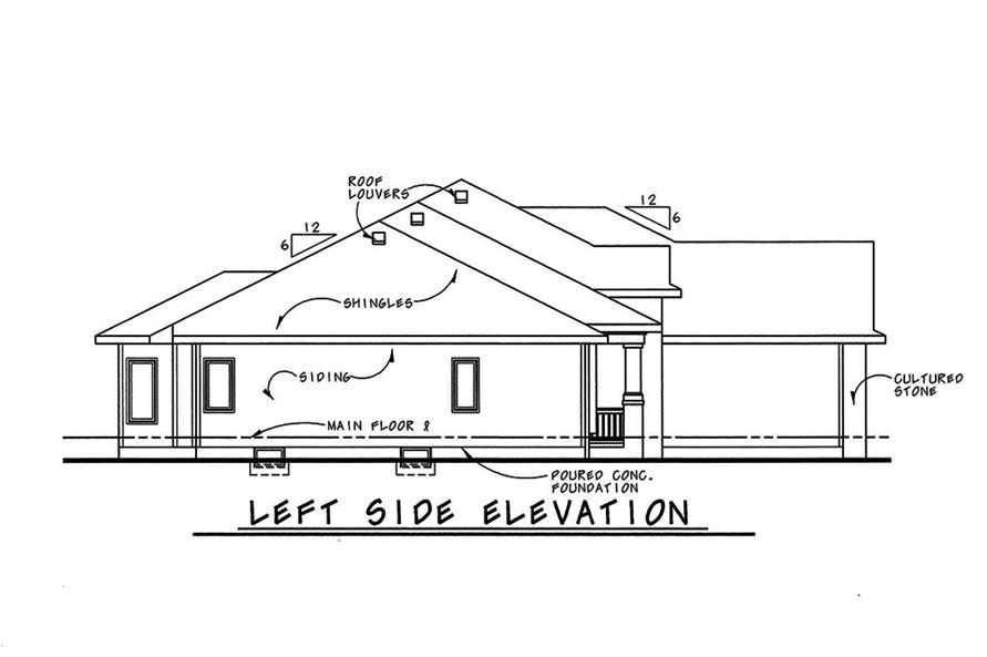 Home Plan Left Elevation of this 3-Bedroom,1945 Sq Ft Plan -120-2544