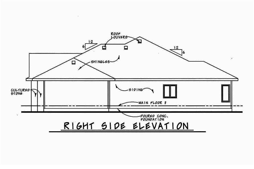 Home Plan Right Elevation of this 3-Bedroom,1945 Sq Ft Plan -120-2544
