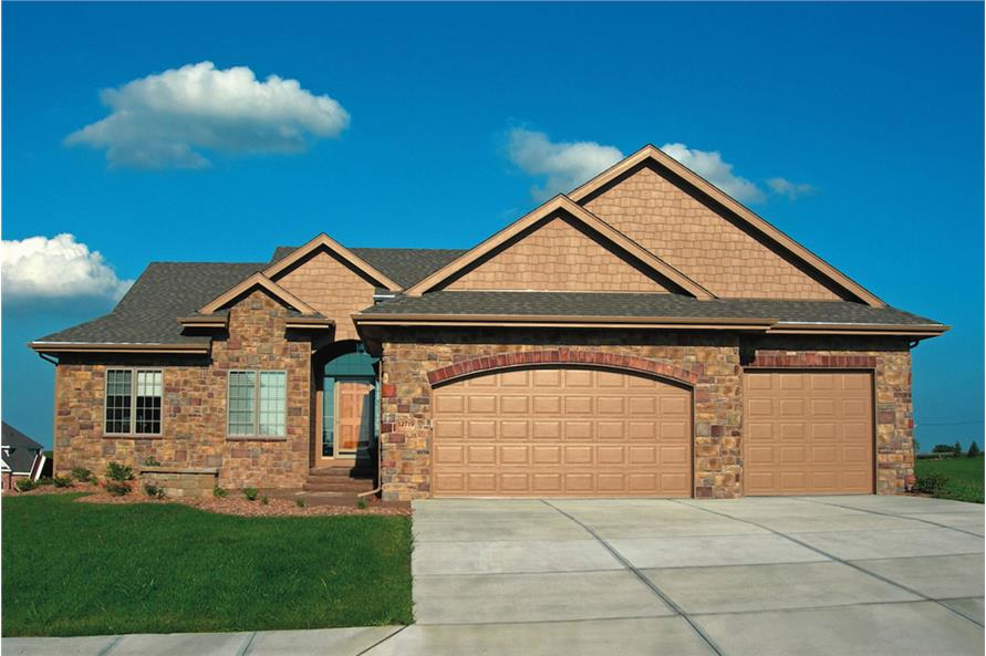 3-Bedroom, 1945 Sq Ft Ranch House Plan - 120-2544 - Front Exterior