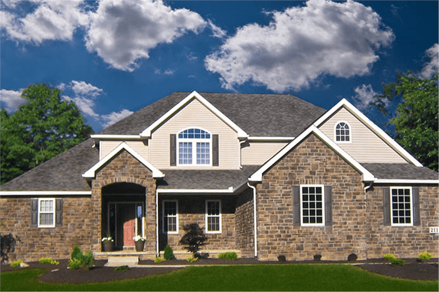 4-Bedroom, 2495 Sq Ft French House Plan - 120-2546 - Front Exterior