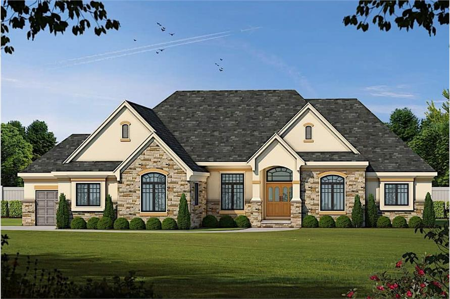 Home Plan Front Elevation of this 3-Bedroom,2449 Sq Ft Plan -120-2548
