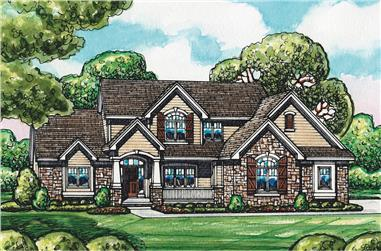 Color rendering of European home plan (ThePlanCollection: House Plan #120-2549)