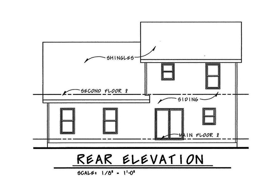 Home Plan Rear Elevation of this 4-Bedroom,1480 Sq Ft Plan -120-2553