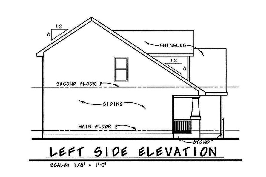 Home Plan Left Elevation of this 4-Bedroom,1480 Sq Ft Plan -120-2553