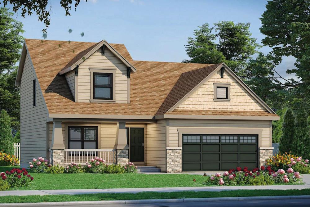 Front elevation of Craftsman home (ThePlanCollection: House Plan #120-2553)