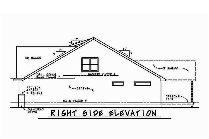 Home Plan Right Elevation of this 4-Bedroom,2232 Sq Ft Plan -120-2555