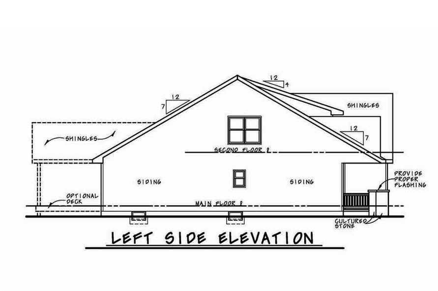 Home Plan Left Elevation of this 4-Bedroom,2232 Sq Ft Plan -120-2555