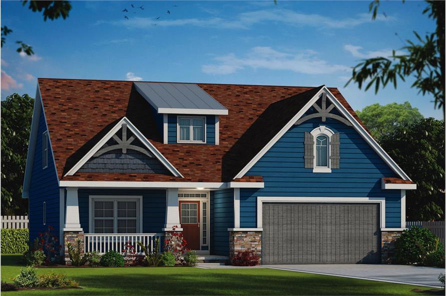 4-Bedroom, 2232 Sq Ft Craftsman Home Plan - 120-2555 - Main Exterior