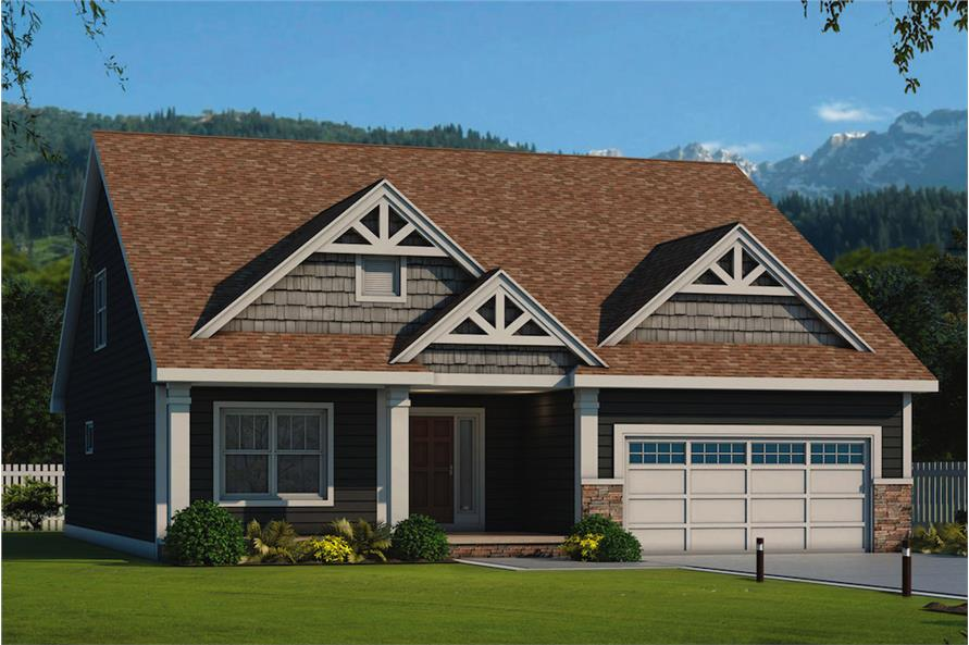 3-Bedroom, 2113 Sq Ft Craftsman Home Plan - 120-2556 - Main Exterior
