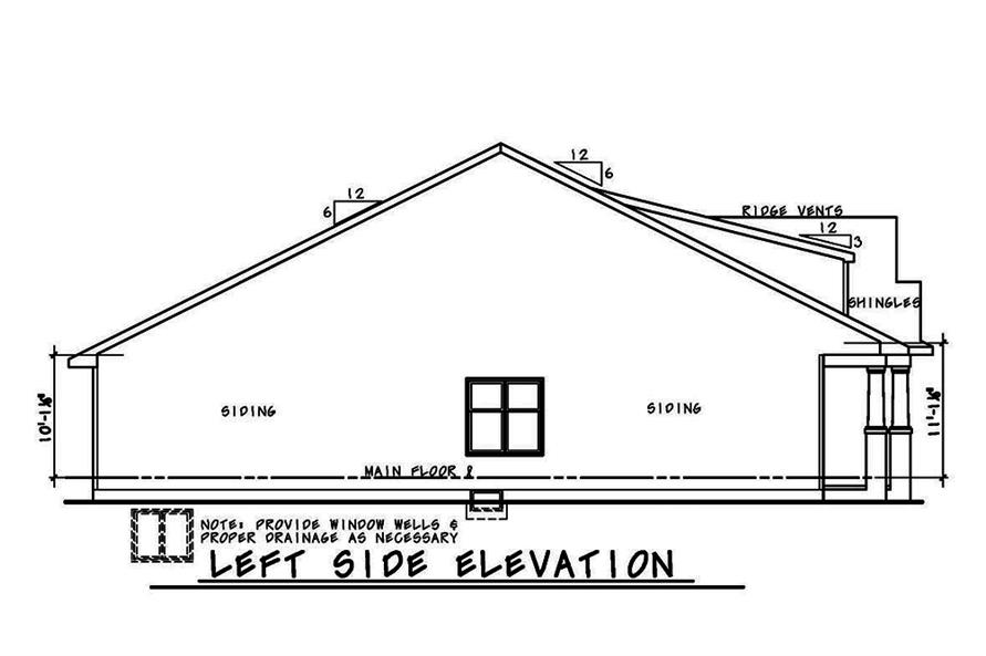 Home Plan Left Elevation of this 3-Bedroom,1757 Sq Ft Plan -120-2560