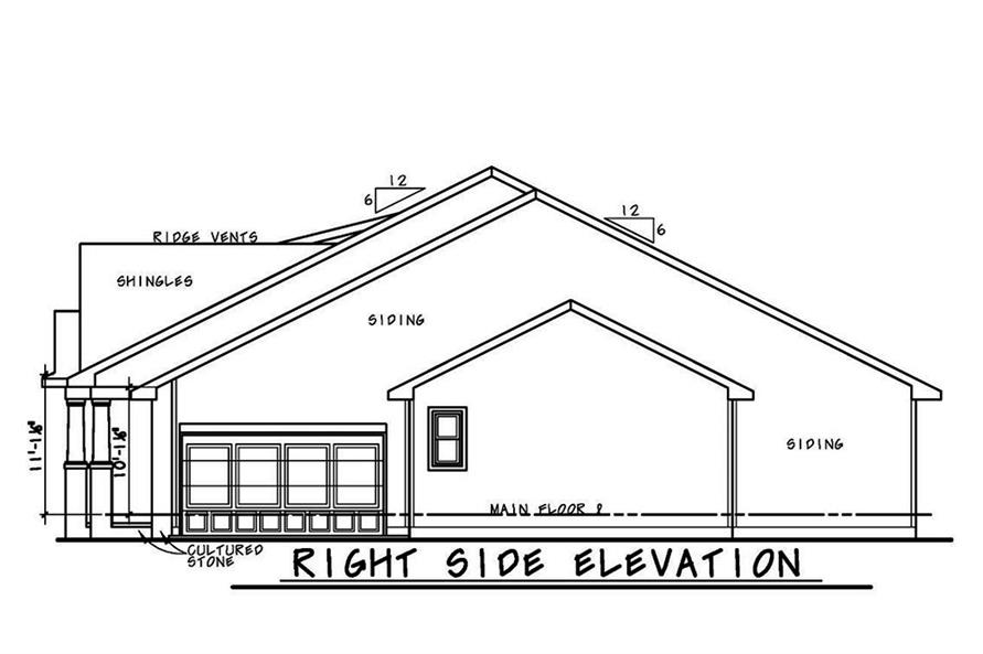 Home Plan Right Elevation of this 3-Bedroom,1757 Sq Ft Plan -120-2560