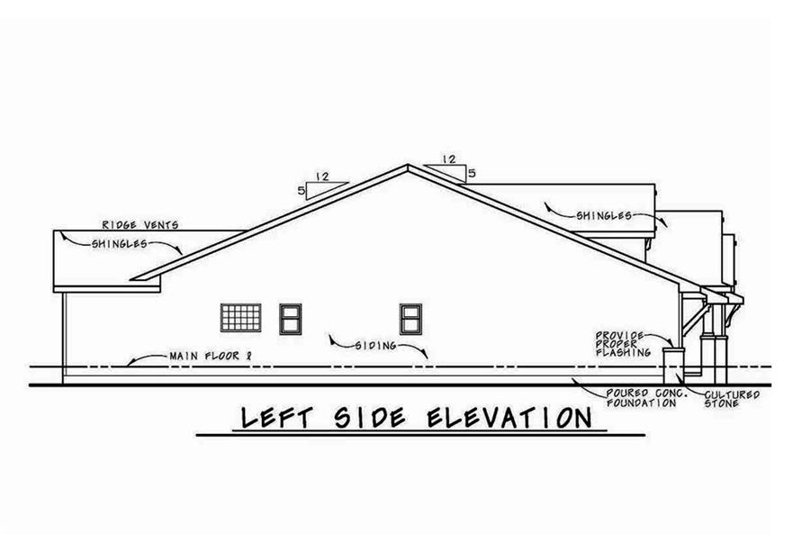 Home Plan Left Elevation of this 3-Bedroom,2071 Sq Ft Plan -120-2562