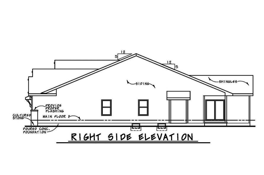 Home Plan Right Elevation of this 3-Bedroom,2071 Sq Ft Plan -120-2562