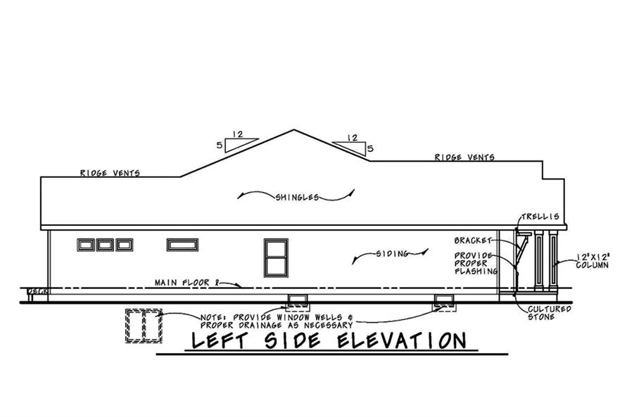 120-2563: Home Plan Left Elevation