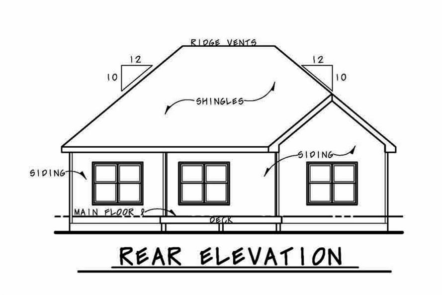 Home Plan Rear Elevation of this 3-Bedroom,1886 Sq Ft Plan -120-2563