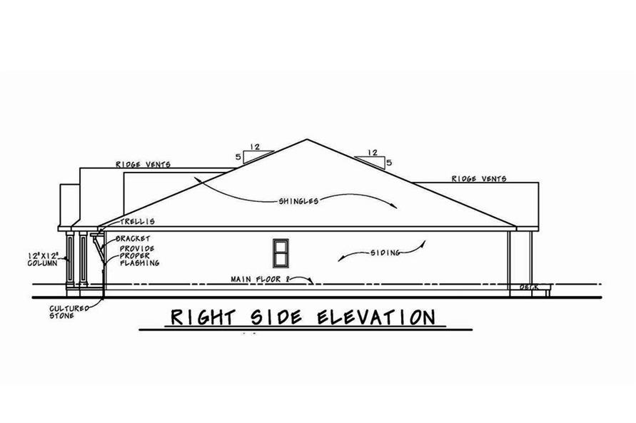 Home Plan Right Elevation of this 3-Bedroom,1886 Sq Ft Plan -120-2563