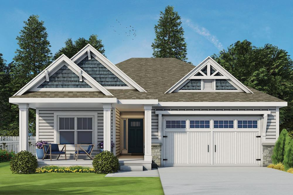 Front elevation of Craftsman home (ThePlanCollection: House Plan #120-2563)
