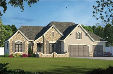 French home plan (ThePlanCollection: House Plan #120-2571)