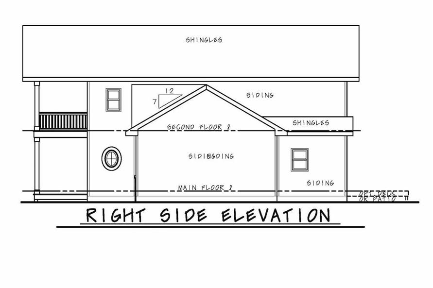 Home Plan Right Elevation of this 3-Bedroom,2388 Sq Ft Plan -120-2573