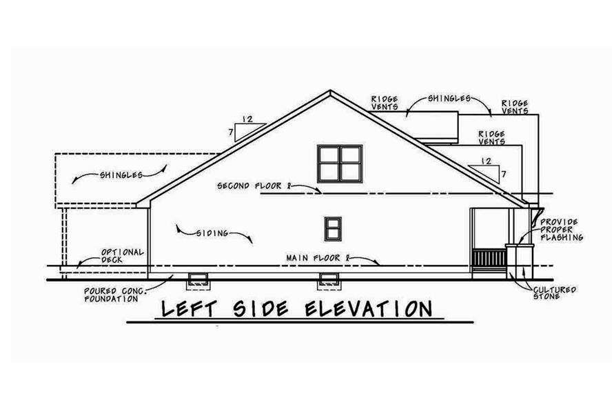Home Plan Left Elevation of this 4-Bedroom,2116 Sq Ft Plan -120-2576
